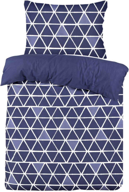 Bettwäsche blau mit Dreiecken -  (Preis für kleinste Grösse)