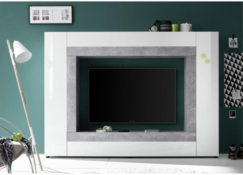 Wohnwand 226/163/40 cm in Grau, Weiß