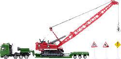 SIKU 1834 Schwertransporter mit Seilbagger, Grün/Rot/Gelb