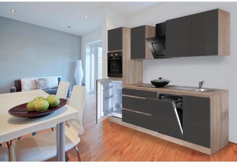 Einbauküche Küchenblock Möbelix Premium B: 280 cm Grau Hgl