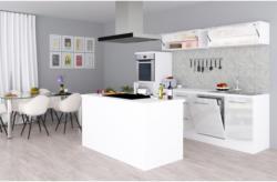 Einbauküche Premium B: 280 cm Weiß Hgl