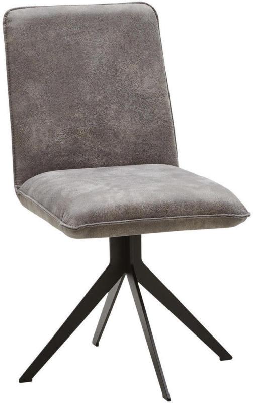Stuhl in Metall, Textil Grau, Schwarz