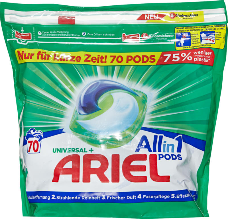 Lessive All in 1 Pods Universal Ariel, 70 lessives