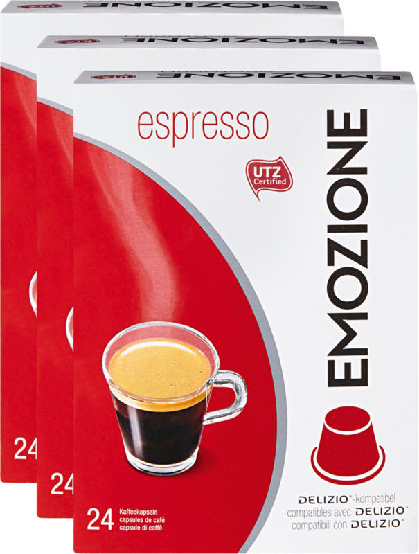 Capsules de café Espresso Emozione, compatibles avec les machines Delizio