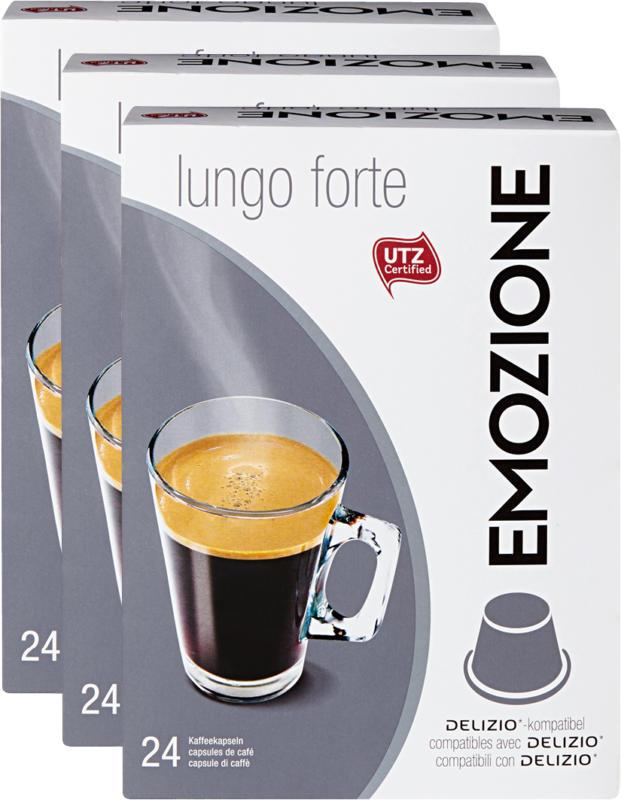 Emozione Kaffeekapseln Lungo forte, kompatibel mit Delizio-Maschinen, 24 Kapseln