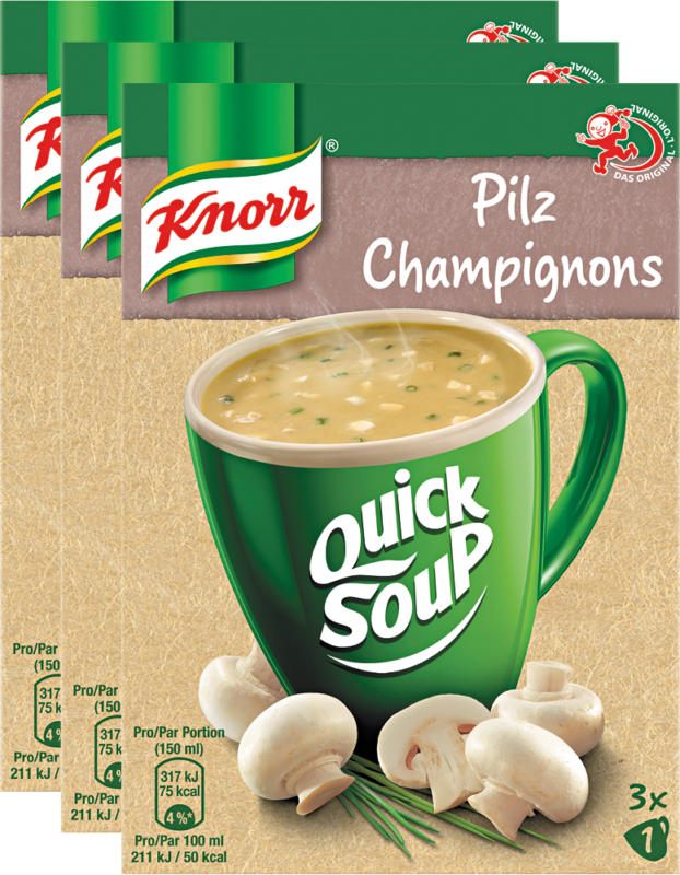 Quick Soup Knorr, Funghi, 3 x 48 g