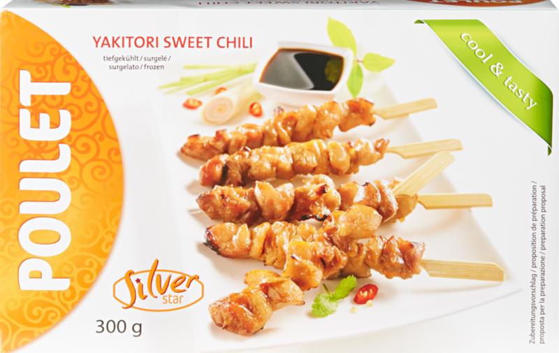 Brochettes de poulet Yakitori Sweet Chili Silverstar, 300 g