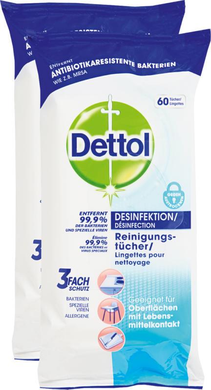 Salviette detergenti disinfettanti Dettol, 2 x 60 pezzi