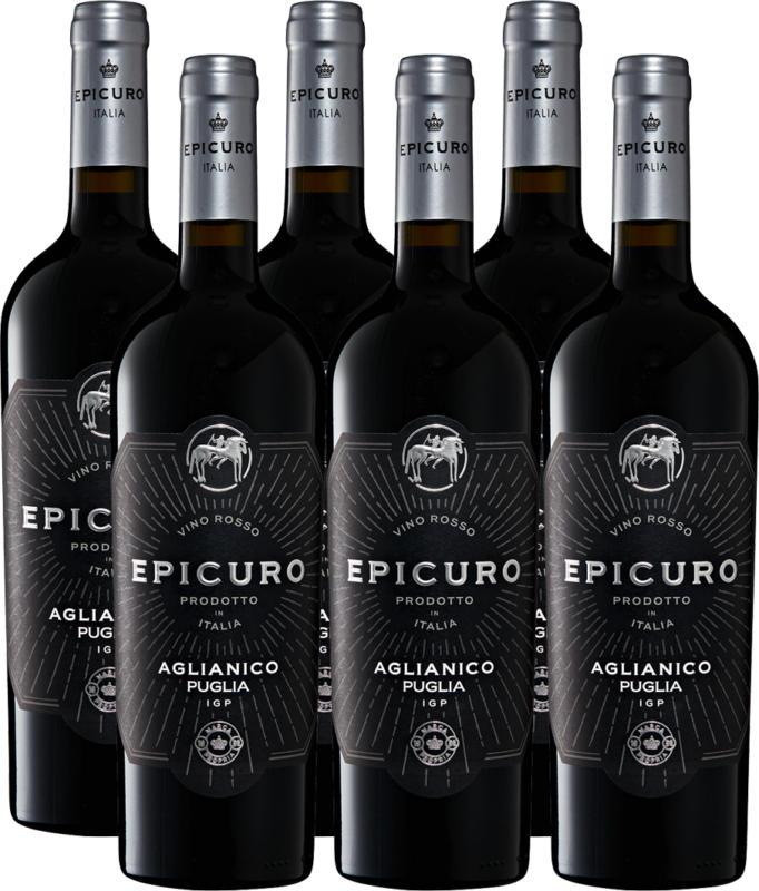 Epicuro Aglianico Puglia IGP, 2020, les Pouilles, Italie, 6 x 75 cl