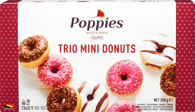 Poppies Trio Mini Donuts, 3 x 3 pièces, 250 g