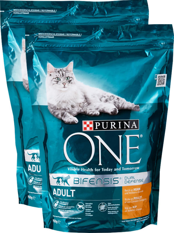Cibo secco per gatti Adult Purina One , Pollo & Cereali integrali, 2 x 950 g