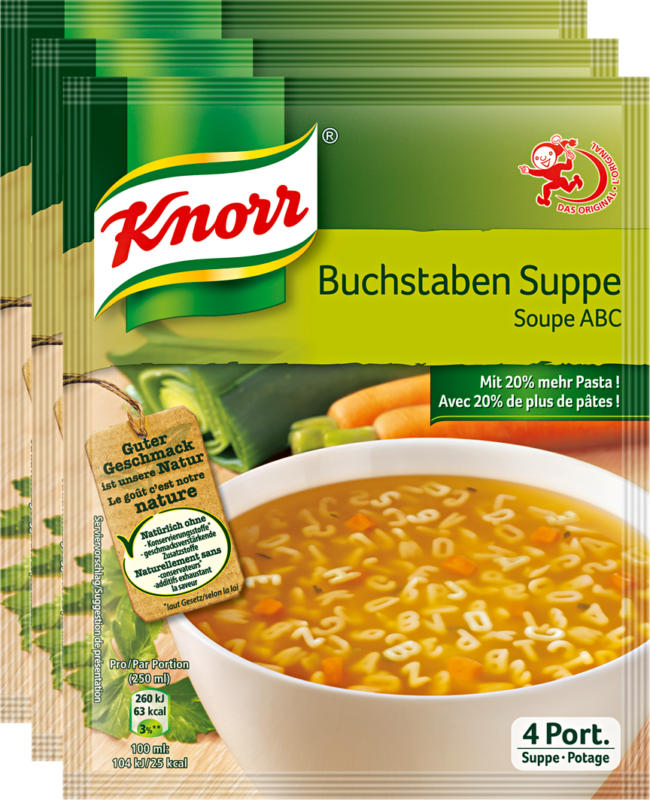 Knorr Buchstabensuppe, 3 x 71 g