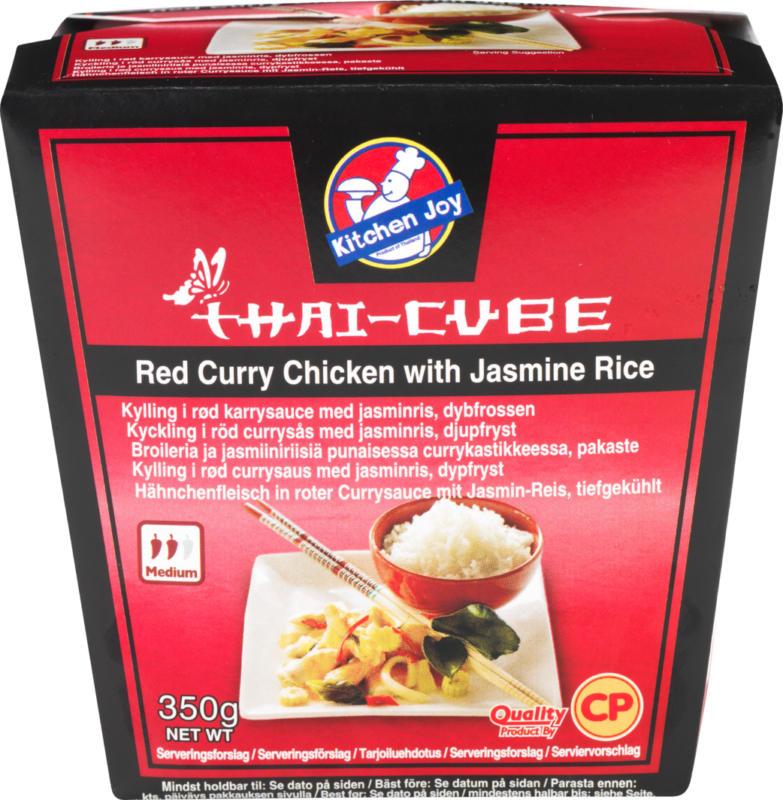 Kitchen Joy Thai-Cube Red Curry Chicken, mit Jasminreis, 350 g