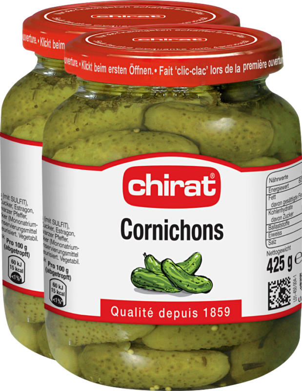 Cetriolini Chirat, 2 x 230 g