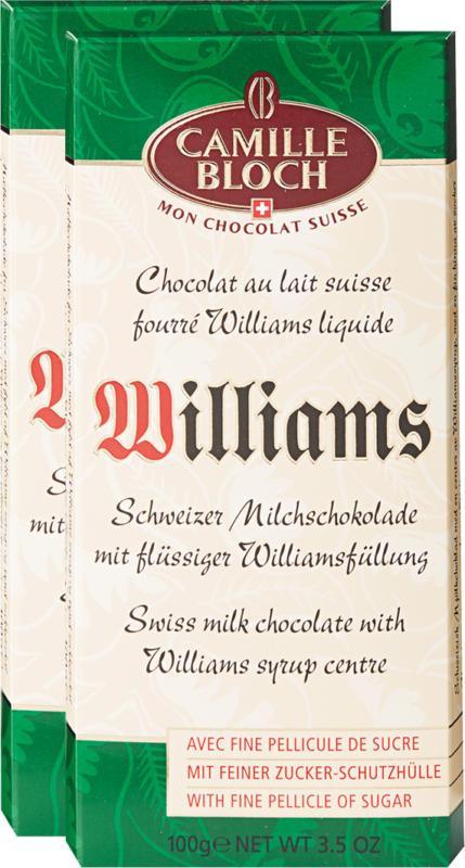 Tavolette di cioccolata Camille Bloch, Ripiena con Williams liquido, 2 x 100 g