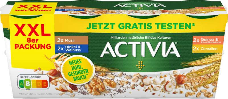 Danone Activia Joghurt probiotisch, assortiert: Müesli, Dinkel & Walnuss, Quinoa & Sonnenblumenkerne, Cerealien, 8 x 115 g