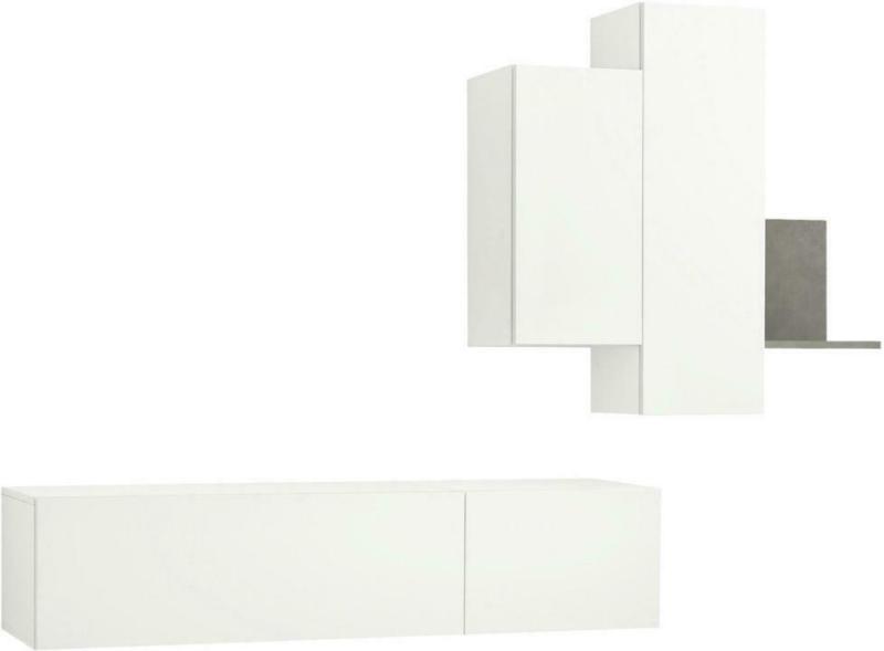 Wohnwand 228,8/35,2/105,6/45/33/30,7 cm in Grau, Weiß