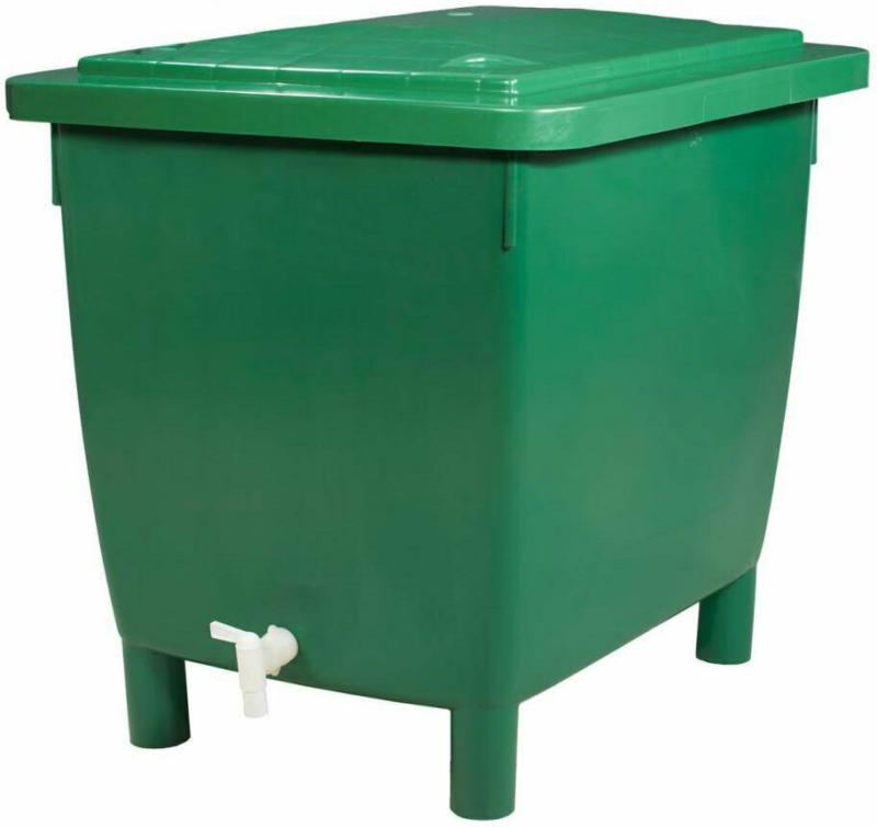 Regentonne eckig, 400 L grün, inkl. Deckel und Auslaufhahn