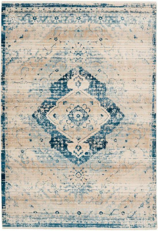 "Fransenteppich ""Baroque 500"", creme/blau 160x230 cm"