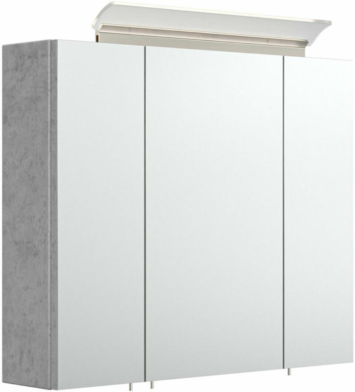 Spiegelschrank, 75 cm, inkl. LED-Acrylglaslampe, beton beton