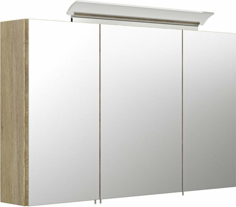 Spiegelschrank, 100 cm, inkl. LED-Acrylglaslampe, eiche hell eiche hell