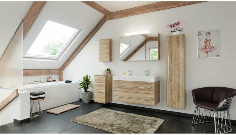 """Doppelbadmöbel-Set """"Livono"""", 100 cm, 5-teilig, eiche hell, seidenglanz braun"""