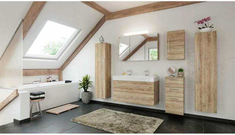 """Doppelbadmöbel-Set """"Livono"""", 100 cm, 6-teilig, eiche hell, seidenglanz braun"""
