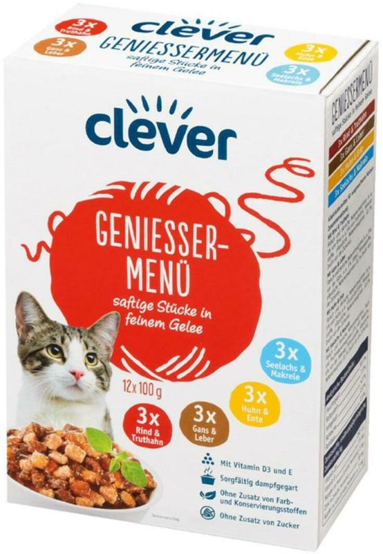 Clever Katze Genießermenü Saftige Stückchen in Gelee