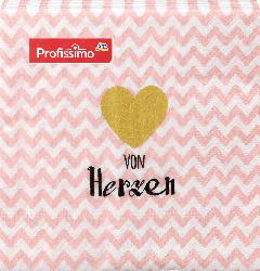 Profissimo Servietten von Herzen (25 x 25 cm)