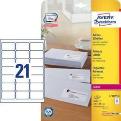 AVERY ZW. Adress - Etiketten 63.5x38.1mm L7160 - 40 Laser,weiss 840Stk. / 40Bl.