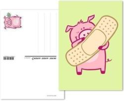 Glücksschwein, Vorfrankierte Glückwunschskarte «Pflaster»