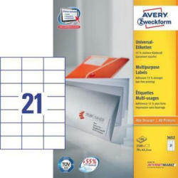 AVERY ZW. Etiketten 70x42,3mm 3652 Universal, weiss 100Bl. / 21St.
