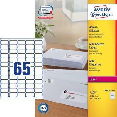 AVERY ZW. Adressetiketten 38,1x21,2mm L7651 - 100 6500 Stück