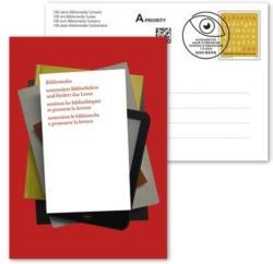 100 ans de Bibliomedia Suisse, Carte postale illustrée affranchie