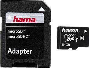 HAMA 108075 22MB/S CL10+AD - Micro-SDHC-Cartes mémoire  (64 GB, 22, Noir)