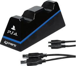 4GAMERS PS4 DUAL CHARGE N STAND - Ladestation (Schwarz)