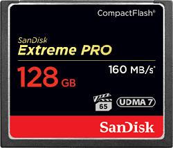 SANDISK EXTREM PRO 160MB/S - Compact Flash-Speicherkarte  (128 GB, 160, Schwarz)