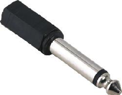 HAMA Adaptateur audio, jack femelle 3,5 mm mono - jack mâle 6,3 mm mono -  (Noir)