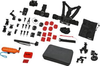 ROLLEI 21643 - Actioncam Zubehör Set (Schwarz, rot)