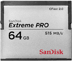 SANDISK CFast ExtremePro 525MB/s - Compact Flash-Speicherkarte  (64 GB, 525, Grau)