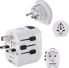 HAMA World Travel Pro Light USB World - Adattatore per viaggio mondiale (Bianco)