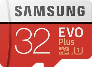 SAMSUNG EVO+ 95MB/S CL10 U1+AD - Micro-SDHC-Speicherkarte  (32 GB, 95, Weiss/Rot)