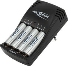 ANSMANN Comfort 3 + 2900 - Caricatore intelligente (Nero)