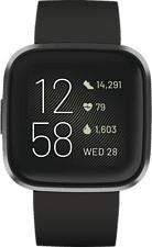 FITBIT Versa 2 - Smartwatch (S und L, Silikon, Schwarz/Carbon)