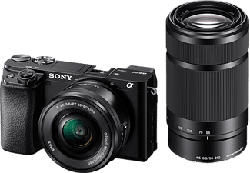 SONY Alpha 6100 Body + E PZ 16-50 mm F3.5-5.6 OSS + E 55-210 mm F4.5-6.3 OSS - Systemkamera (Fotoauflösung: 24.2 MP) Schwarz