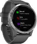 MediaMarkt GARMIN vívoactive 4 - Smartwatch GPS (Larghezza: 22 mm, Silicone, Grigio scuro/Argento)