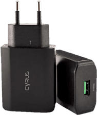 CYRUS Caricabatterie rapido USB originale QC 3.0, universale - Adattatore per corrente alternata (Nero)