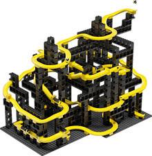 HUBELINO pi Marble Run Set XL - Elementi costitutivi (Nero/Giallo)