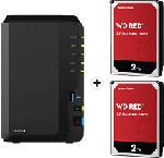 MediaMarkt SYNOLOGY DiskStation DS220+ con 2x 2TB WD Red NAS (HDD) - Server NAS (HDD, 4 TB, Nero)