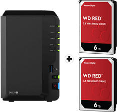 SYNOLOGY DiskStation DS220+ con 2x 6TB WD Red NAS (HDD) - Server NAS (HDD, 12 TB, Nero)